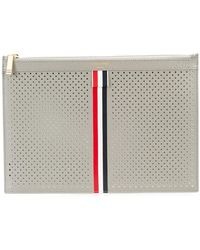 Thom Browne - Small Zipper Tablet Holder (29.5x20cm) With Red, White And Blue Vertical Stripe In Perforated Pebble Grain & Calf Leather - Lyst