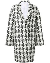 Genny - Houndstooth Knit Coat - Lyst