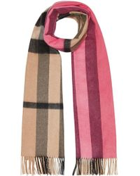 Burberry - Colour Block Check Cashmere Scarf - Lyst