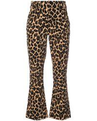 FRAME - Cheetah Print Flared Trousers - Lyst
