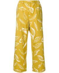 Aspesi - Leaf Print Trousers - Lyst