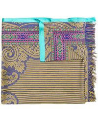 Etro - Embroidered Fringed Scarf - Lyst