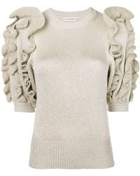 cb347aa79a74 Ulla Johnson - Metallic Knit Ruffled Sweater - Lyst
