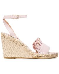 Valentino - Pink Ruffle Wedge Leather Sandals - Lyst