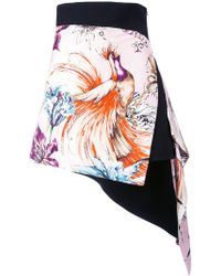 Fausto Puglisi - - Asymmetric Printed Mini Skirt - Women - Silk/acetate/viscose - 42 - Lyst