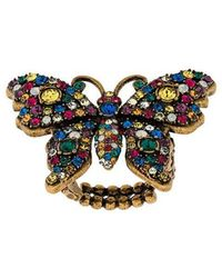 Gucci - Crystal Studded Butterfly Ring - Lyst