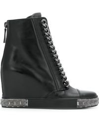 Casadei - Chain Embellished Wedge Sneakers - Lyst