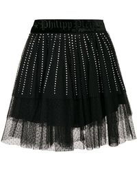 Philipp Plein - Crystal Embellished Lace Skirt - Lyst