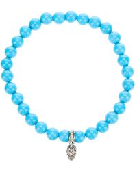 Loree Rodkin - Turqoise Beaded Diamond Skull Charm Bracelet - Lyst