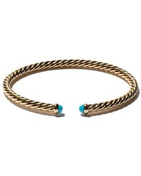 David Yurman - 18kt Yellow Gold Cable Spira Turquoise Cuff Bracelet - Lyst