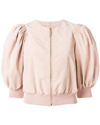 Elisabetta Franchi - Puff Sleeve Zipped Jacket - Lyst