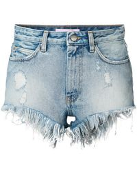 Palm Angels - Frayed Denim Shorts - Lyst