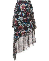 Anna Sui - Floral Print Asymmetric Skirt - Lyst