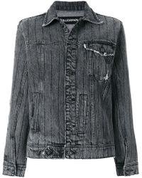 Filles A Papa - Crystal-embellished Frayed Denim Jacket - Lyst