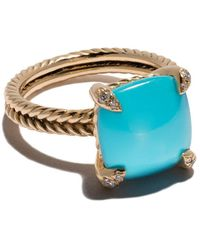 David Yurman 18kt Yellow Gold Châtelaine Turquoise And Diamond Ring - Blue