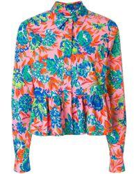 MSGM - Tropical Jungle Print Peplum Shirt - Lyst