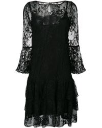 Blumarine - Lace Embroidered Flared Dress - Lyst