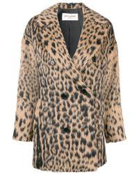 Saint Laurent - Double-breasted Leopard Coat - Lyst