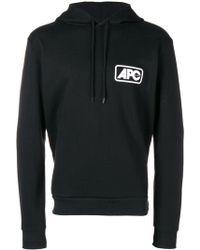A.P.C. - Kapuzenpullover mit Logo-Print - Lyst