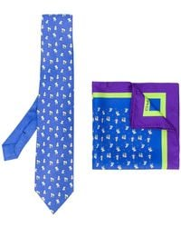 Etro - Elephant Print Tie And Pocket Square - Lyst