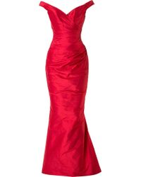 Romona Keveža - Off Shoulder Ruched Fishtail Gown - Lyst