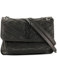 18f5e343fd7f Lyst - Saint Laurent Niki Large Leather Shoulder Bag in Gray