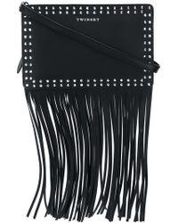 Twin Set - Fringed Studded Shoulder Bag - Lyst