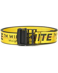 Off-White c/o Virgil Abloh Zwart En Gele Industriële Riem Met Logo - Geel