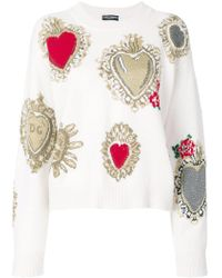 Dolce & Gabbana | Sacred Heart Knit Jumper | Lyst