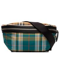 5f298bdaa1a7 Burberry Multicoloured Check Cotton And Leather Belt Bag for Men - Lyst