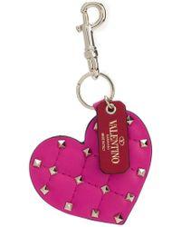 Valentino - Rockstud Heart Key Ring - Lyst