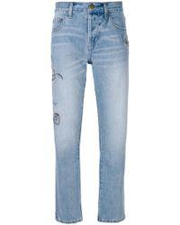 Current/Elliott - Embroidered Straight-leg Jeans - Lyst