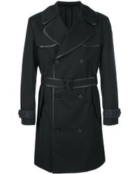 Fendi - Contrast-trim Belted Trench Coat - Lyst
