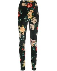 Attico - Floral Print Skinny Trousers - Lyst