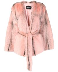 Numerootto - Fur Belted Coat - Lyst