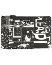 e6404db8c7 Lyst - Dolce   Gabbana Cartoon Detail Clutch Bag in Gray for Men