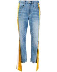 Hellessy - Carlton Silk Satin-trimmed Distressed High-rise Straight-leg Jeans - Lyst