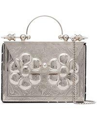 OKHTEIN - Silver Mini Square Metal Cross-body Bag - Lyst