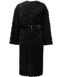 Comme des Garçons - Faux Fur Floral Embroidered Long Coat - Lyst