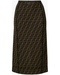 Fendi - Logo Fitted Pencil Skirt - Lyst