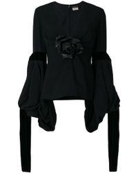 Saint Laurent - Shirt With Flower And Velvet Ties - Lyst