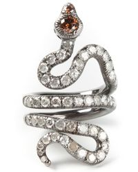 Loree Rodkin - Gold And Diamond Pavé Coiled Snake Pinky Ring - Lyst