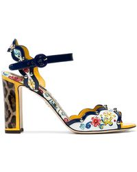 Dolce & Gabbana Woman Bianca Raffia-trimmed Embellished Printed Patent-leather Sandals Blue Size 35.5 Dolce & Gabbana