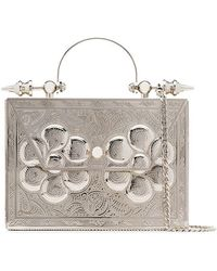 OKHTEIN - Silver Palmette Minaudière Embossed Metal And Leather Cross Body Bag - Lyst