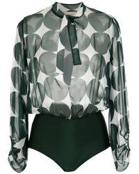 Adriana Degreas - Printed Silk Bodysuit - Lyst