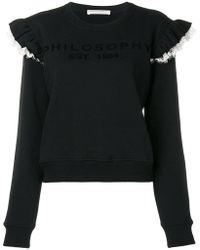Philosophy Di Lorenzo Serafini - Ruffle Lace Trim Sweatshirt - Lyst