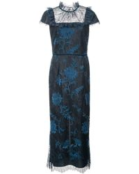 Marchesa notte - Cap Sleeve Floral Dress - Lyst