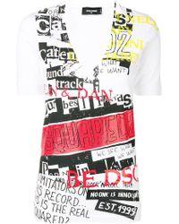 DSquared² - V-neck Printed T-shirt - Lyst