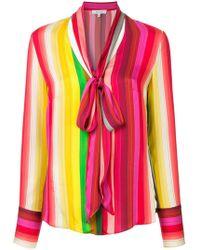 MILLY - Striped Tie Neck Shirt - Lyst