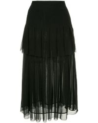 Oscar de la Renta - Tiered Box Pleated Skirt - Lyst